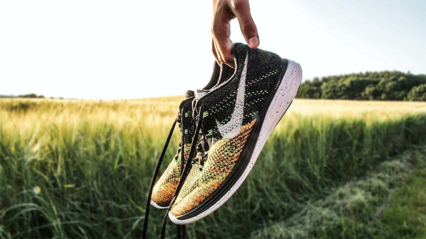 pair of running shoes - running for people who are overweight
