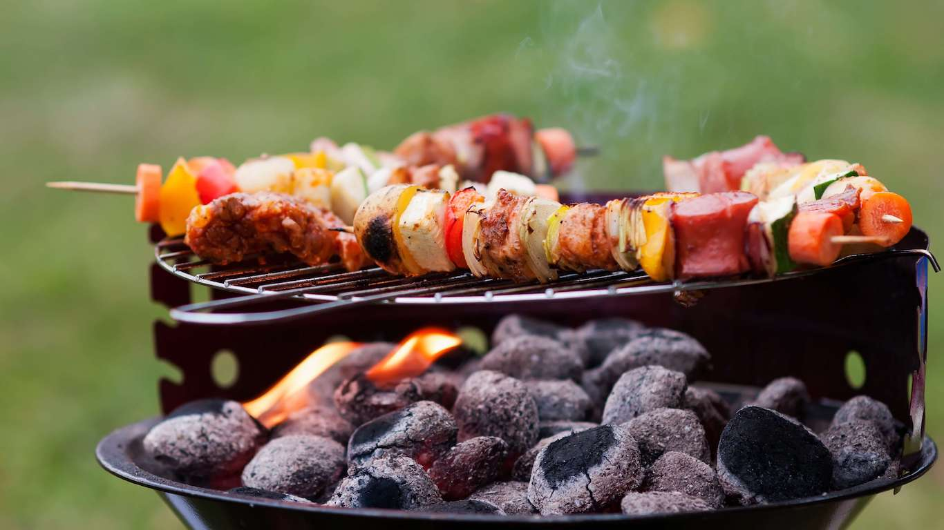 grill with shishkebabs and charcoal